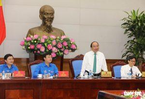 Thủ tướng Nguyễn Xuân Phúc làm việc với Trung ương Đoàn - Ảnh: VIỆT DŨNG